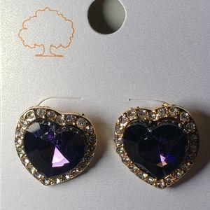 Cute Crafted Purple Heart Stone,Lined w Rhinestone